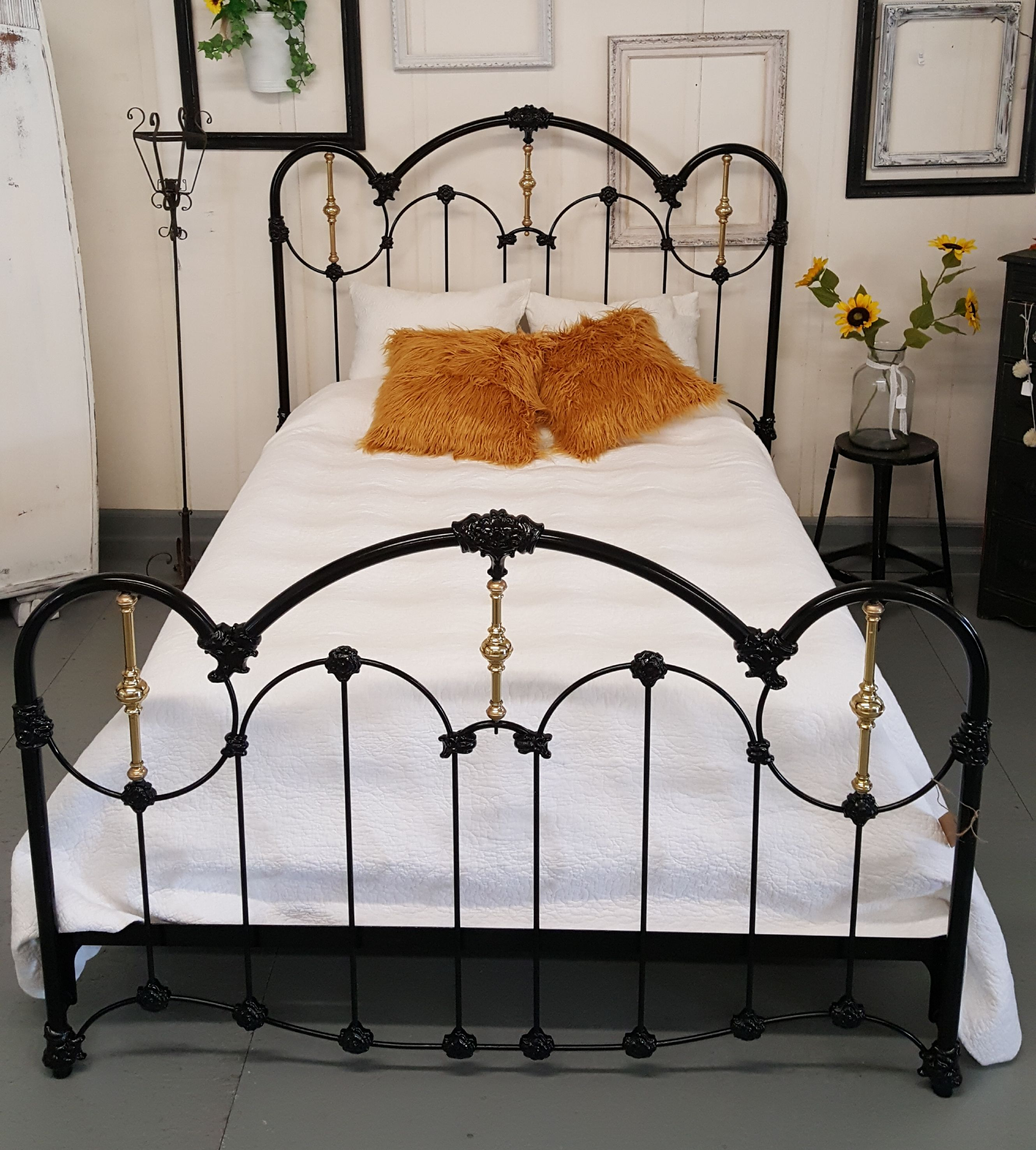 Antique Black Queen Size Iron Bed With Gold Accents Available In
