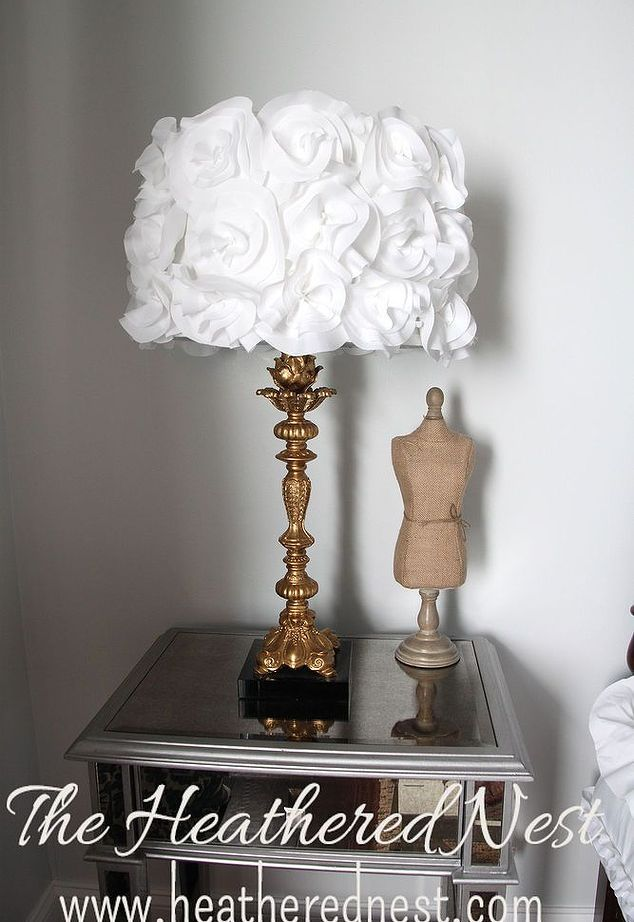 Diy fabric flower lampshade lampshades upcycled furniture and diy fabric flower lampshade aloadofball Choice Image
