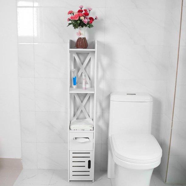 Otviap Standing Tall Narrow Bathroom Cabinet 2x White Wooden Bathroom Cabinet Shelf Cupb In 2021 Bathroom Corner Storage Cabinet Bathroom Corner Storage Corner Storage