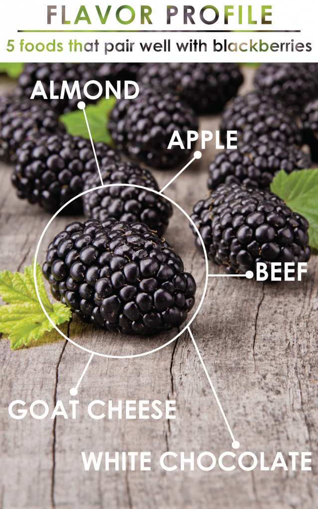 Blackberries have notes of rose, mint, cedar and clove. Click to learn what flavors go with blackberries...