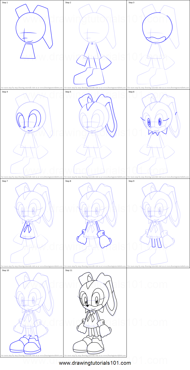How To Draw Cream The Rabbit From Sonic X Printable Drawing Sheet By Drawingtutorials101 Com Drawing Sheet Drawings Drawing Cartoon Characters