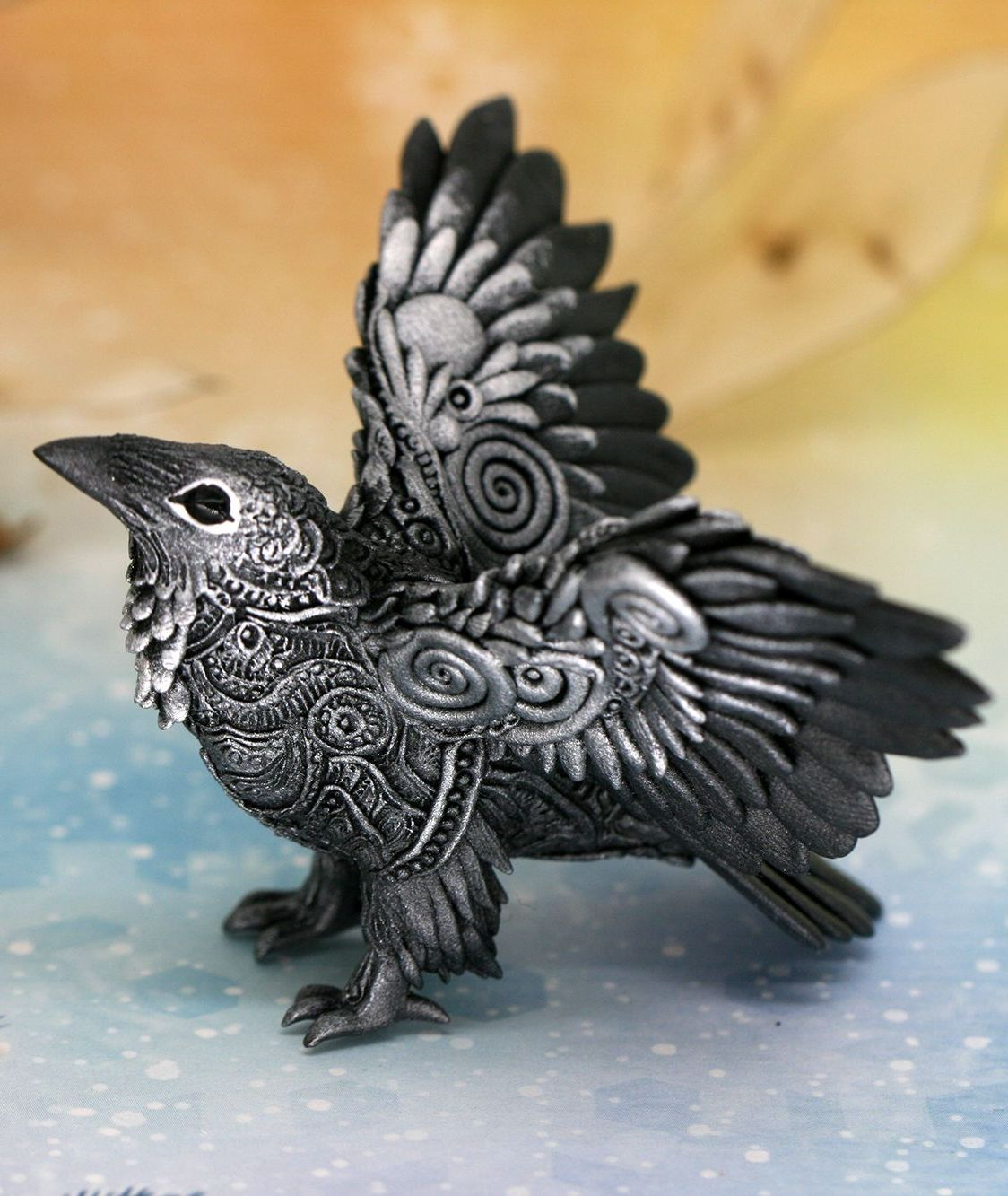 Download Raven Figurine for shelf and office table decoration by Evgeny Hontor 👆 in 2020   Clay figurine ...