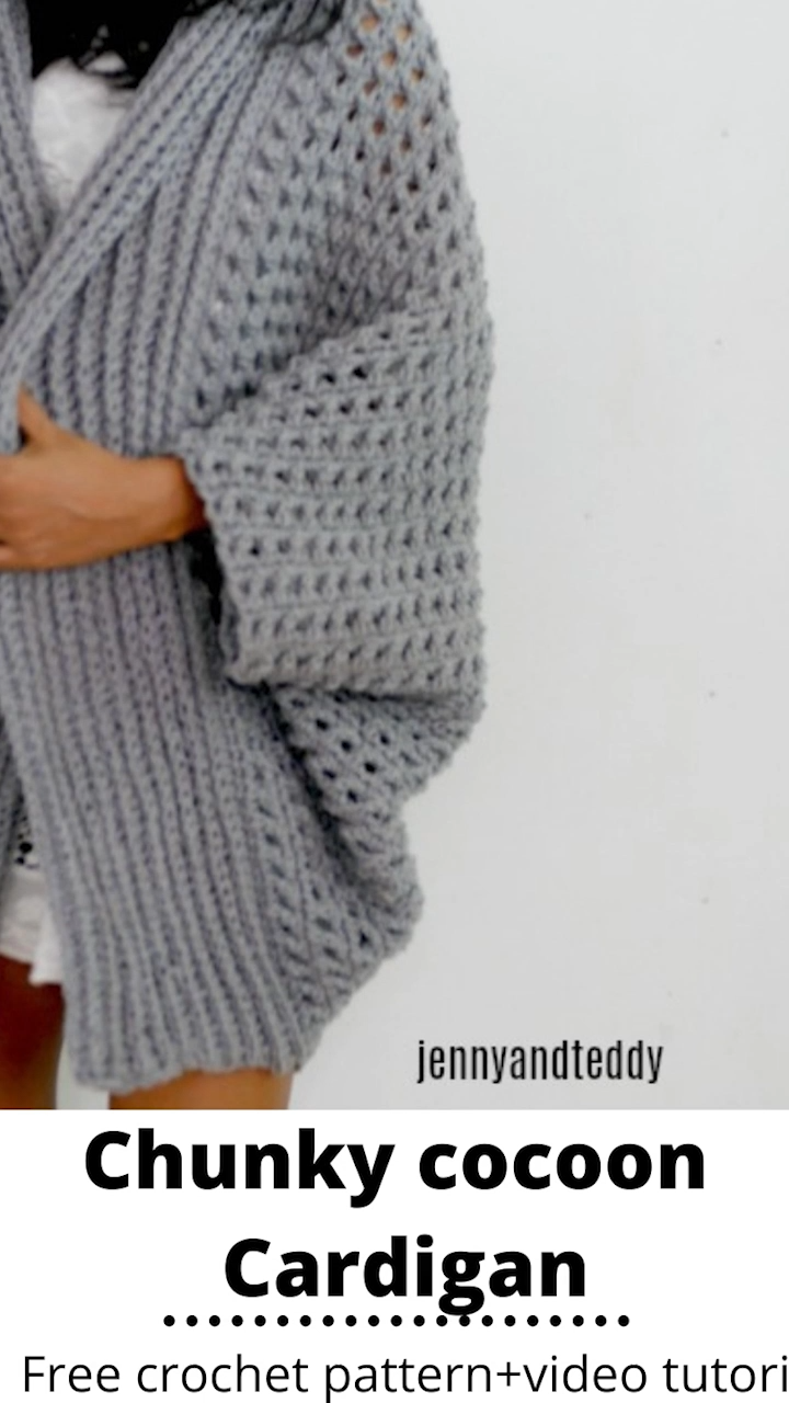 Photo of pretty me chunky cocoon cardigan with video free crochet pattern|jennyandteddy
