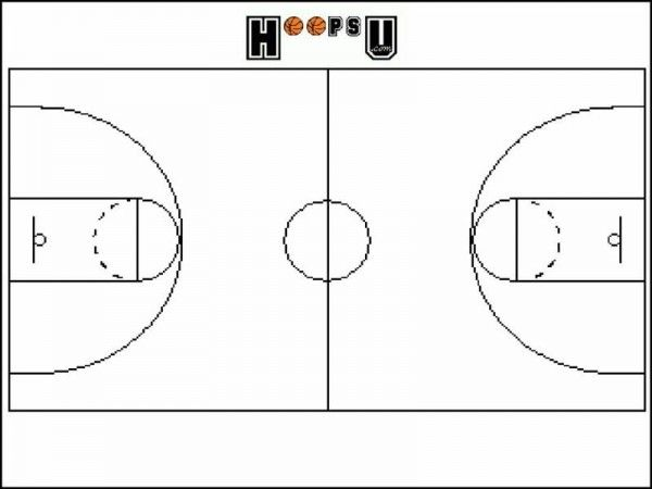 This is a photo of Printable Basketball Court Diagram intended for template