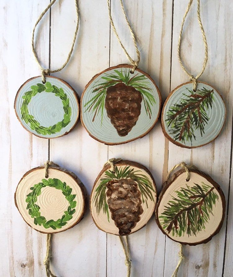 Rustic Christmas Ornament Farmhouse Ornaments Handpainted Wood Slice Ornament Set Primitive Christmas Natural Tree Christmas Tree Decor Rustic Christmas Ornaments Farmhouse Ornaments Rustic Christmas