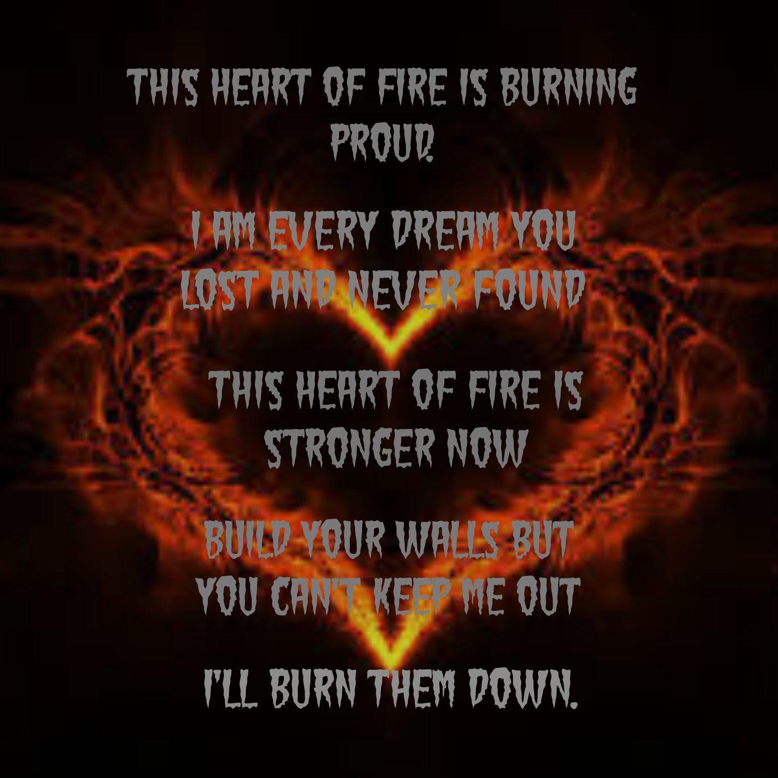 Heart Of Fire lyrics by BLACK VEIL BRIDES <3