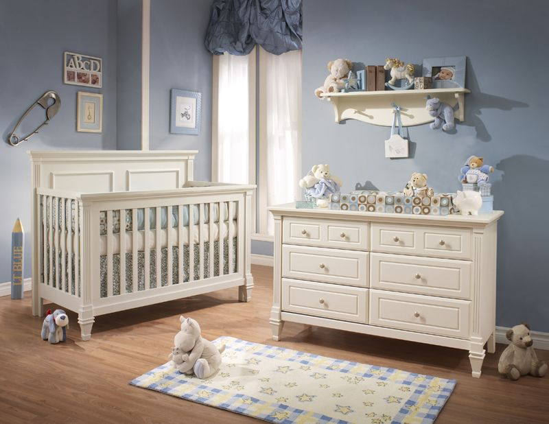 Attractive Natart Belmont 2 Piece Nursery Set In French White   Crib And Double  Dresser   Nursery Sets   Baby Furniture