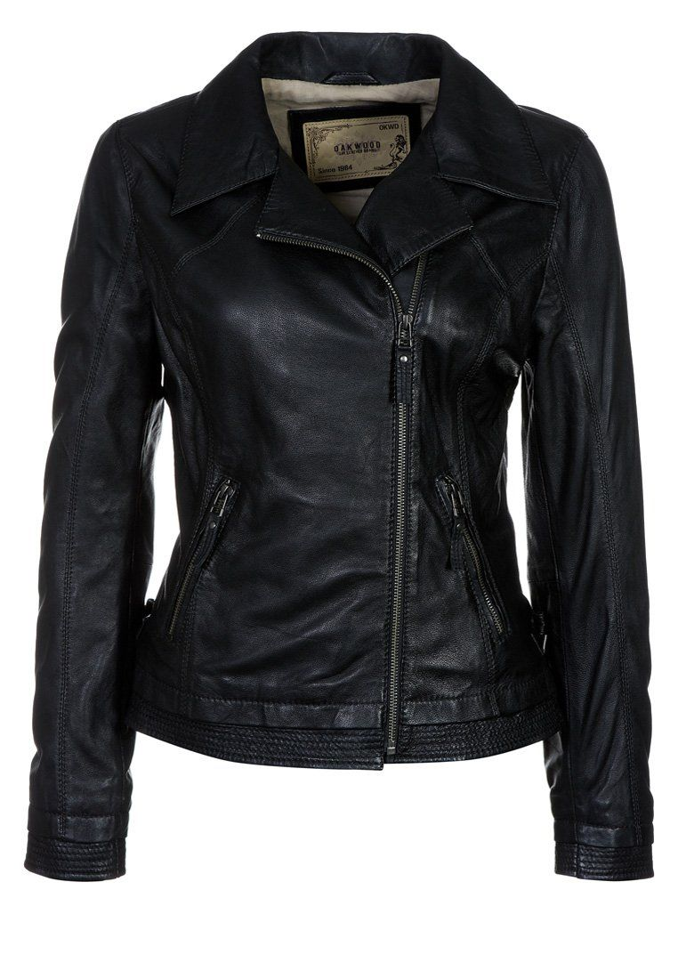 Schwarze Oakwood Lederjacke @Zalando | chaquetas.mujer