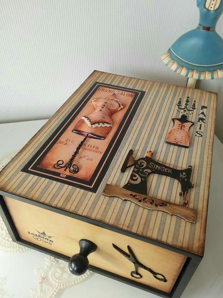 Caja costurero acr licos pinterest cajas cajas - Cajas de vino de madera decoradas ...