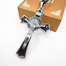 Unique Jewelry - Women Men's Stainless Steel Silver Jesus Cross Pendant Leather Chain Necklace