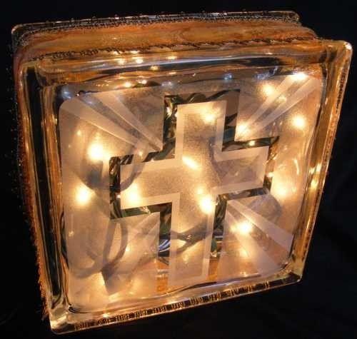 Cross Glass Block Light Walshdesigns Housewares Glass
