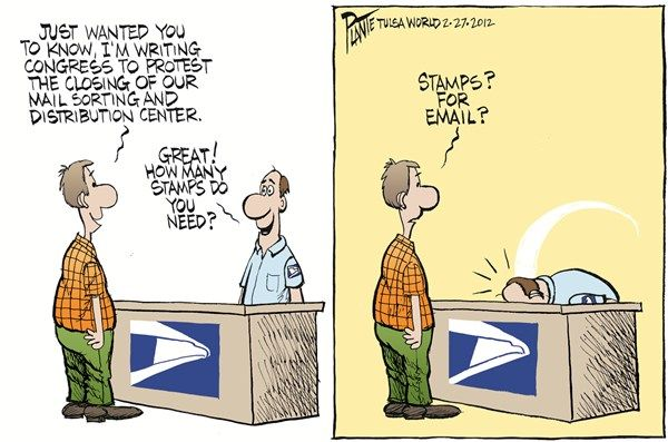 Stamps for email? Postal service humor, Fun at work