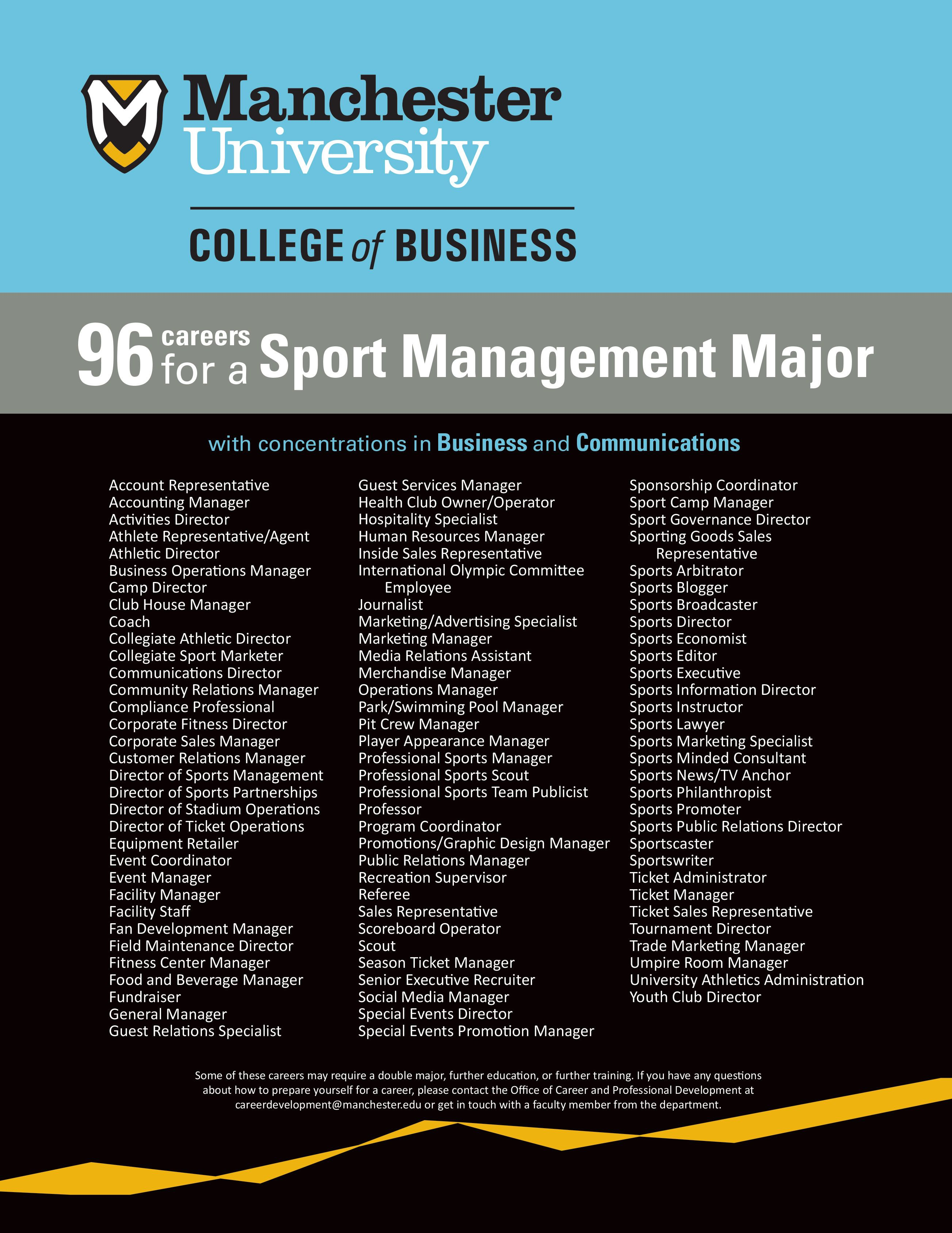 96 potential careers for a Sport Management major Sport