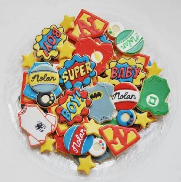 Superhero baby shower cookies
