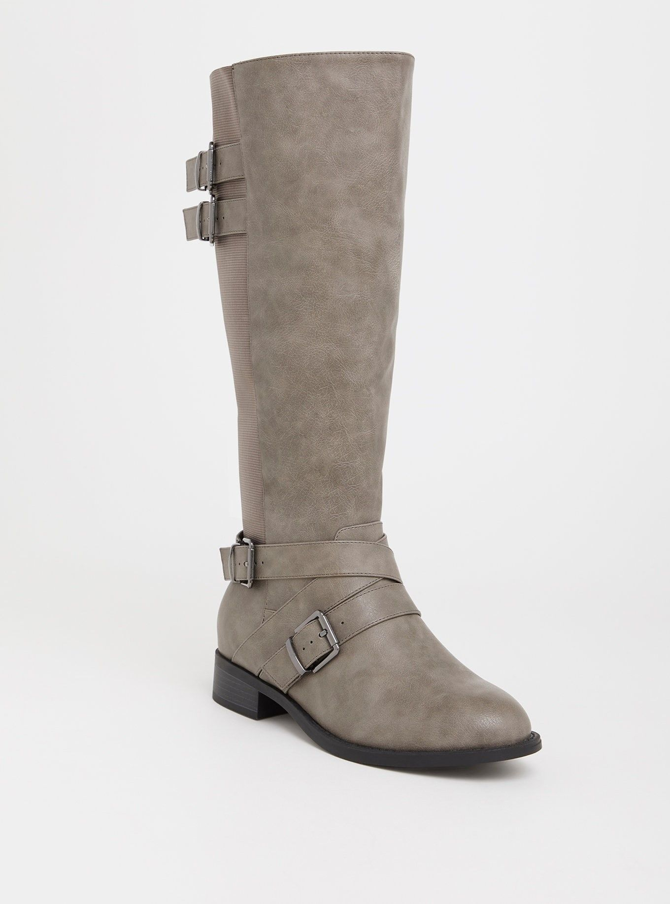 Grey Faux Leather Buckle Boot (Wide