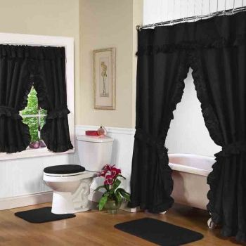 Black Swag Shower Curtain W Available Window Curtain With Images