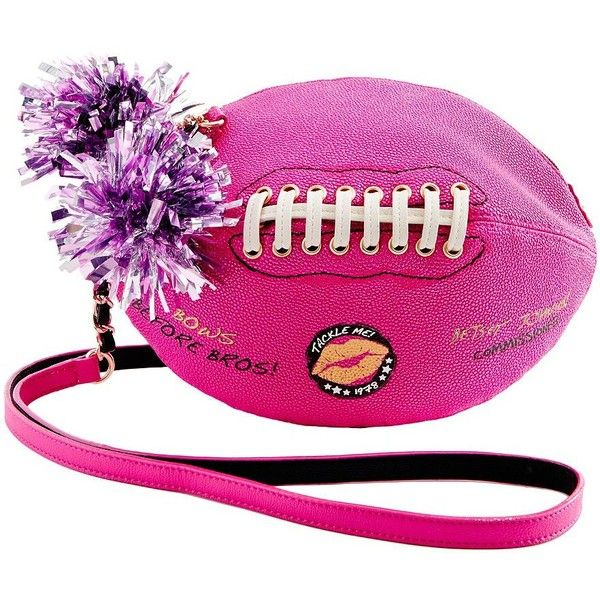 Betsey Johnson Football Crossbody Bag ($66) ❤ liked on Polyvore featuring bags, handbags, shoulder bags, pink, hand bags, handbag purse, betsey johnson handbags, handbags crossbody and pink shoulder bag