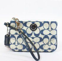 Coach Poppy Signature Cross Hatch Canvas Small Wristlet Navy