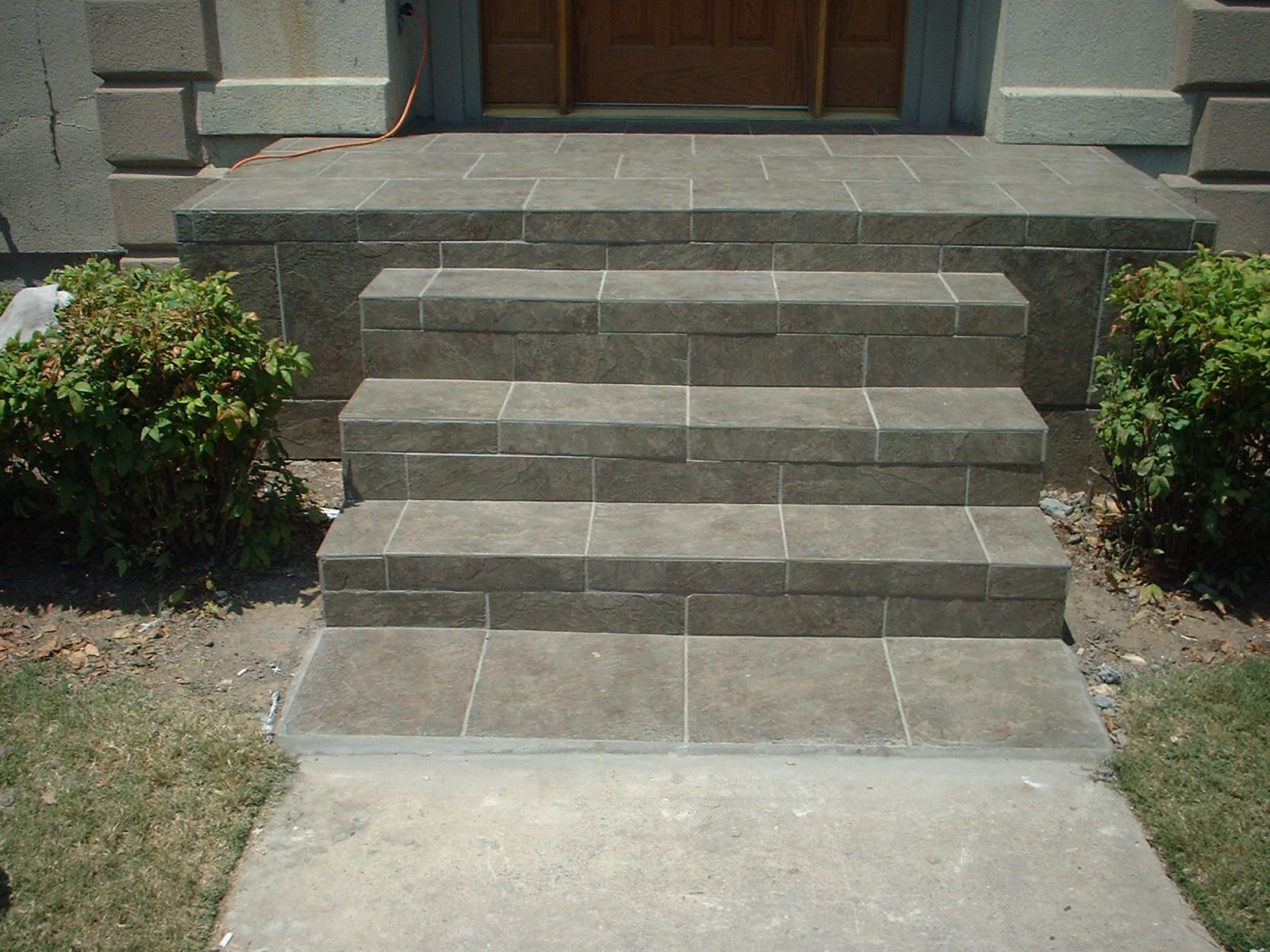 slate tile front porch and steps