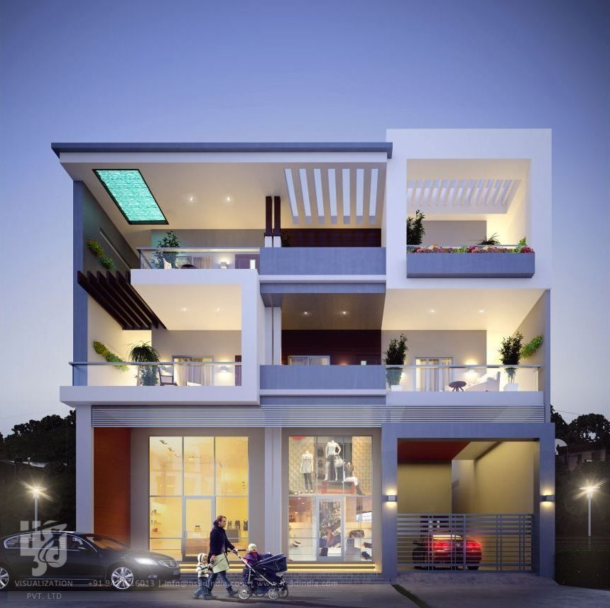 3d Exterior Night Rendering Small House Elevation Design Modern