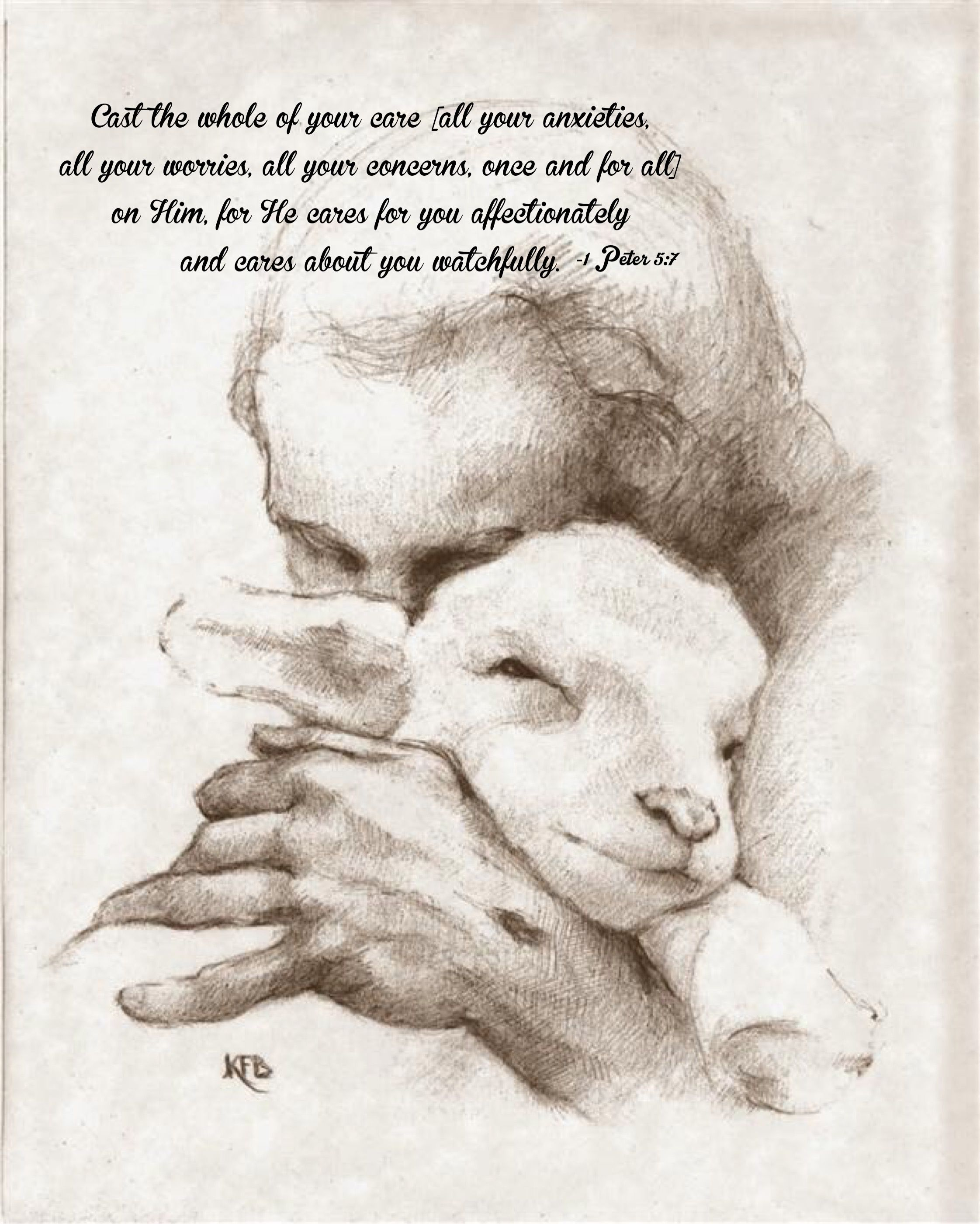 Cast your cares on Him for He cares for you. | Jesus, Christian paintings, Pictures of christ