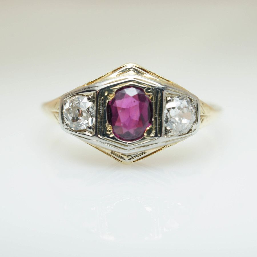 Vintage art deco ruby u diamond solitaire ring k yellow gold old