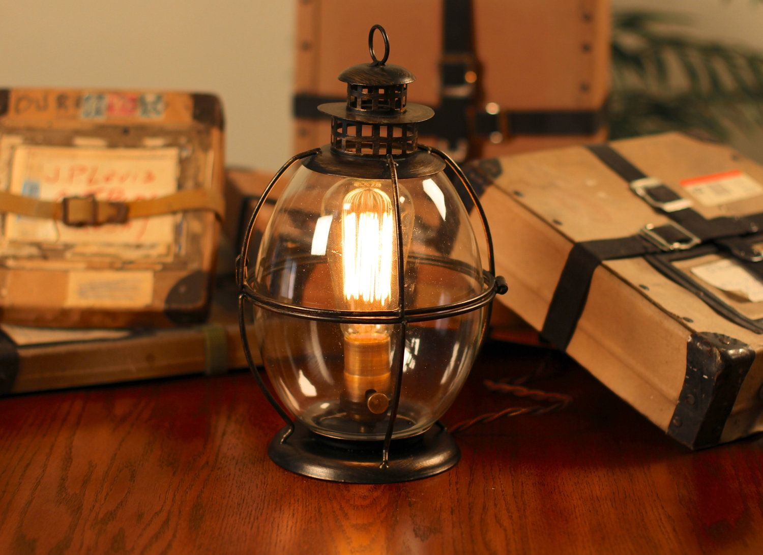 Edison Lamp, Vintage Lantern Table Lamp, Rustic Industrial Lamp, Edison Bulb,  Steampunk, Antique