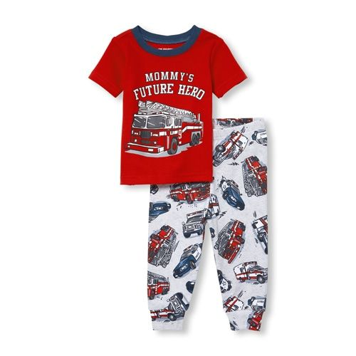 8fe365dc94a90 s Baby And Toddler Boys Short Sleeve 'Mommy's Future Hero' Fire Truck Top  And Print Pants Snug Fit Pajamas - Red - The Children's Place