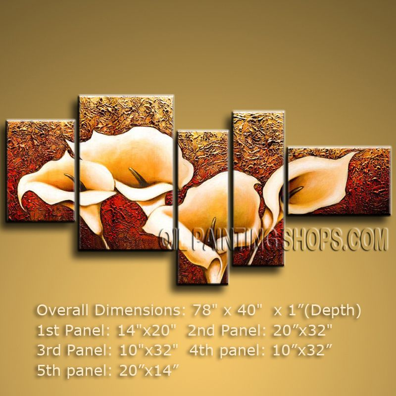 5 Pieces Contemporary Wall Art Floral Painting Lily Flower Artworks ...