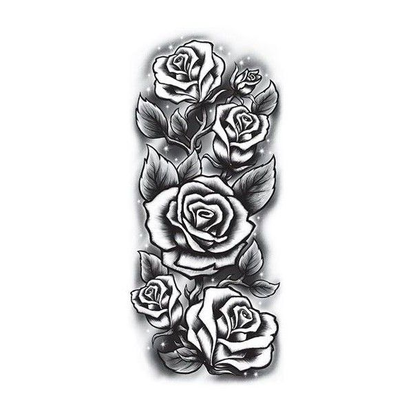 Roses Sleeve Tattoo Black White Liked On Polyvore Featuring