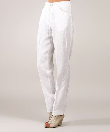 Another great find on #zulily! White Pocket Linen Straight-Leg Pants #zulilyfinds
