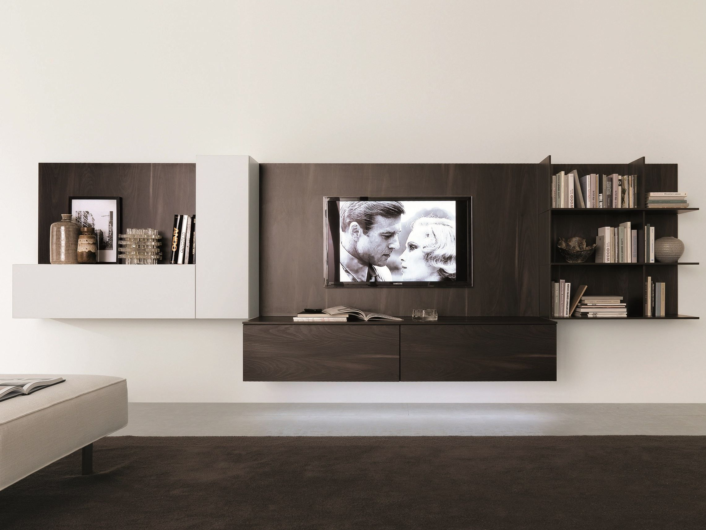 Muebles modernos para tv y equipo de sonido interiors for Muebles de living