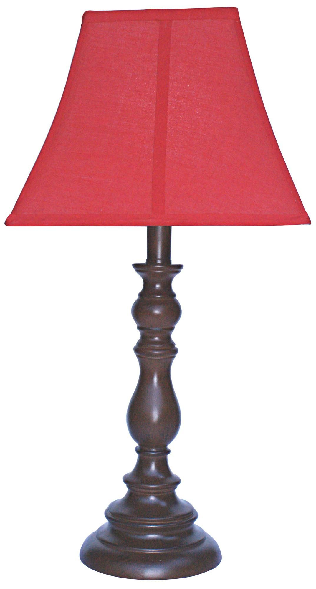 Red Shade With Brown Candlestick Base Table Lamp In 2019