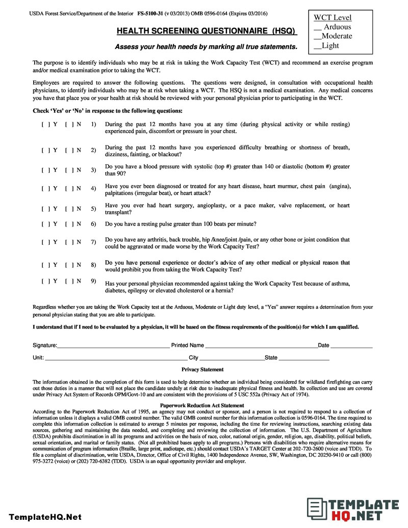 Health Assessment Questionnaire Template from i.pinimg.com