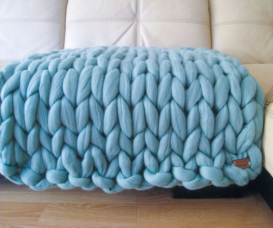 Super Chunky Baby Blanket. Giant Knitted Merino Wool Throw. Super ...