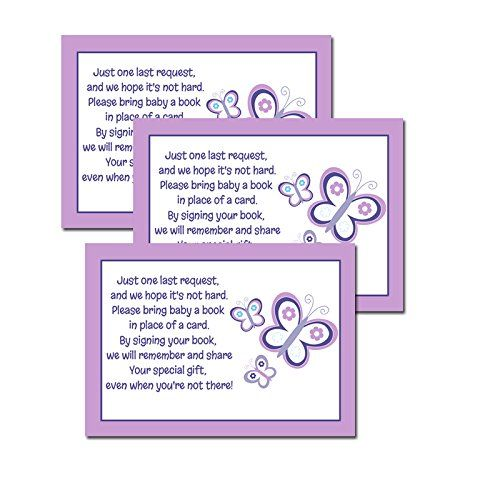 Purple Butterfly Girl Baby Shower Book Request Cards 20-p... https://www.amazon.com/dp/B01BQGM806/ref=cm_sw_r_pi_dp_x_-4NcybSKVS9Y1