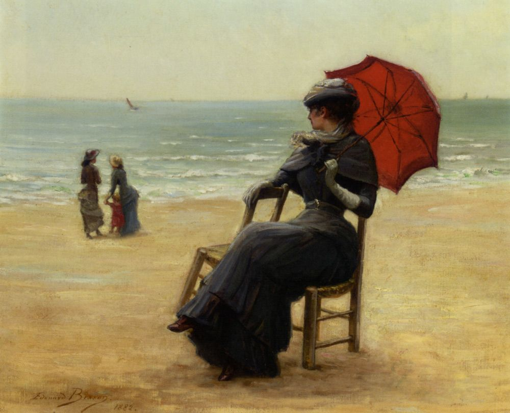 'Sitting by the Sea' (1882) by Edouard Bisson. Oil on canvas.  50.2 x 61 cm (19.8 x 24 in). Signed. Last recorded location: Christie's auction, 19th Century European Art and Orientalist Art, October 2007, New York City, New York, United States. // Found by @RandomMagicTour (https://twitter.com/randommagictour) - Sasha Soren