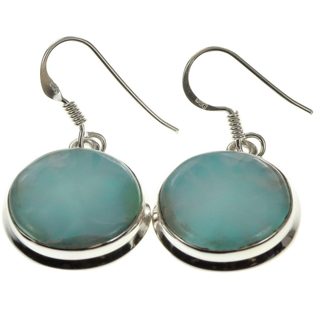 925 Sterling Silver Rhodium-plated Polished Light Blue Larimar Heart Dangle Earrings