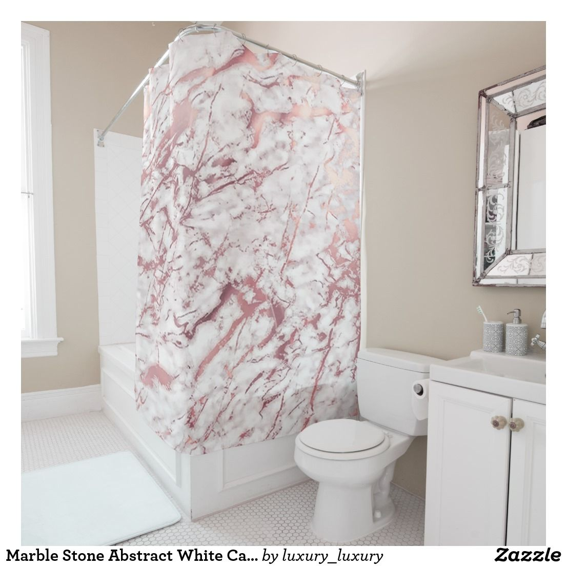 Marble Stone Abstract White Carrara Pink Rose Lux Shower Curtain