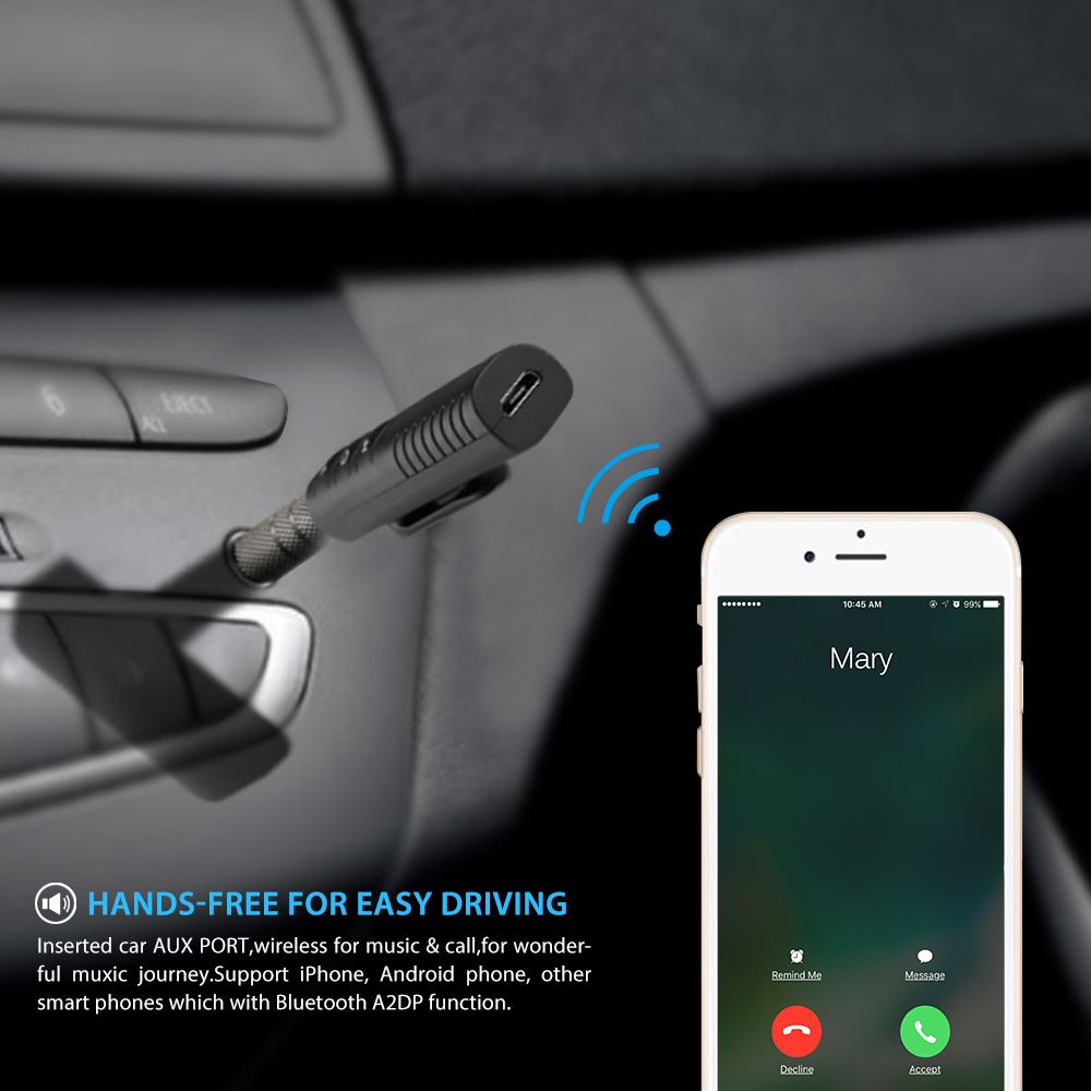 Universal 35mm Bluetooth Car Kit Jack Adapter Gadgets Gizmos For Wiring Aux Audio Receiver No More Wires Connection
