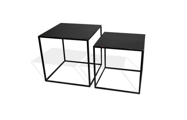 Tables Basses Gigognes En Metal Peint Coloris Noir Et Finition