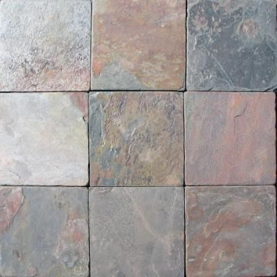 Ms International 4 In X 4 In Tumbled Mutli Color Slate Floor Wall Tile Thdw3 T Mc4x4t At The Home Depot Flooring Slate Flooring Stone Flooring