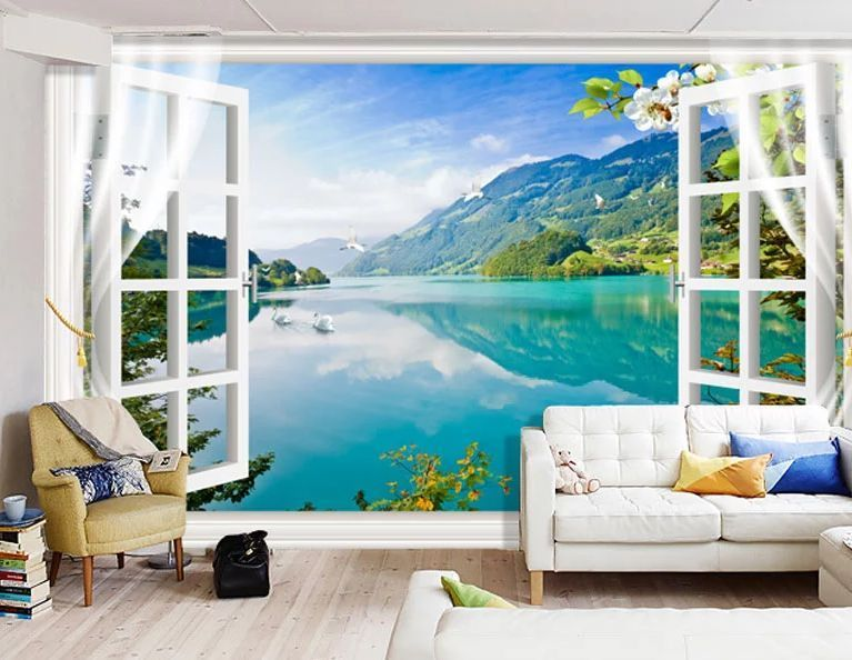 3d landscape fenster fototapeten wandbild fototapete bild tapete familie kinder tapeten. Black Bedroom Furniture Sets. Home Design Ideas