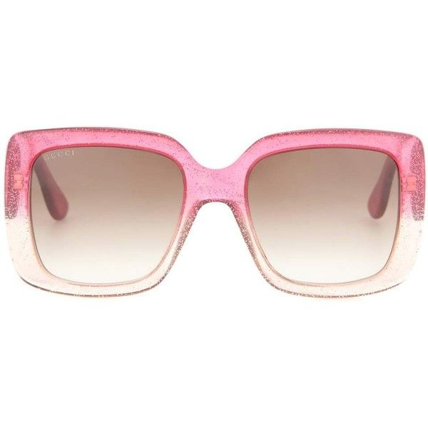 Gucci Oversized Square Glitter Sunglasses ($330) ❤ liked on Polyvore featuring accessories, eyewear, sunglasses, pink, gucci sunglasses, gucci eyewear, gucci and gucci glasses
