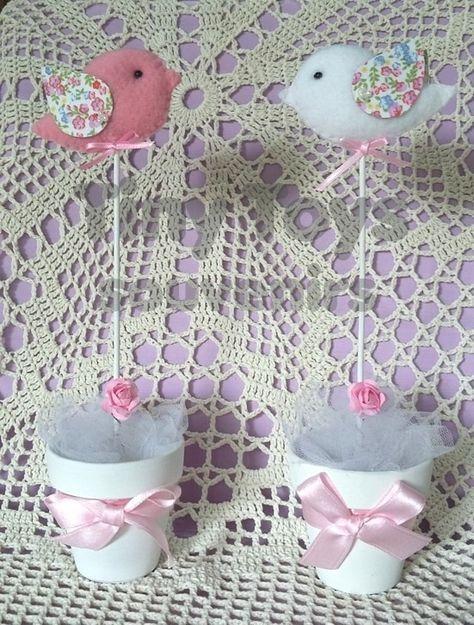 Souvenirs Bautismo Nena.10 Topiarios Pajaritos Centro De Mesa Souvenirs Centros De