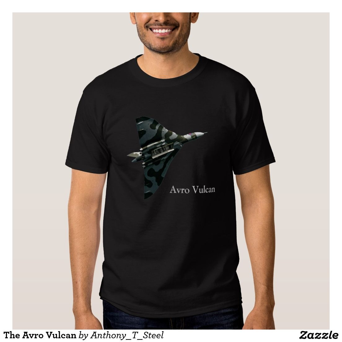 The Avro Vulcan T-shirt.  The Avro Vulcan Bomber decorates the front of this t shirt. You are looking up at it, and can see the open bomb bay. This makes a great gift for an aviation enthusiast.
