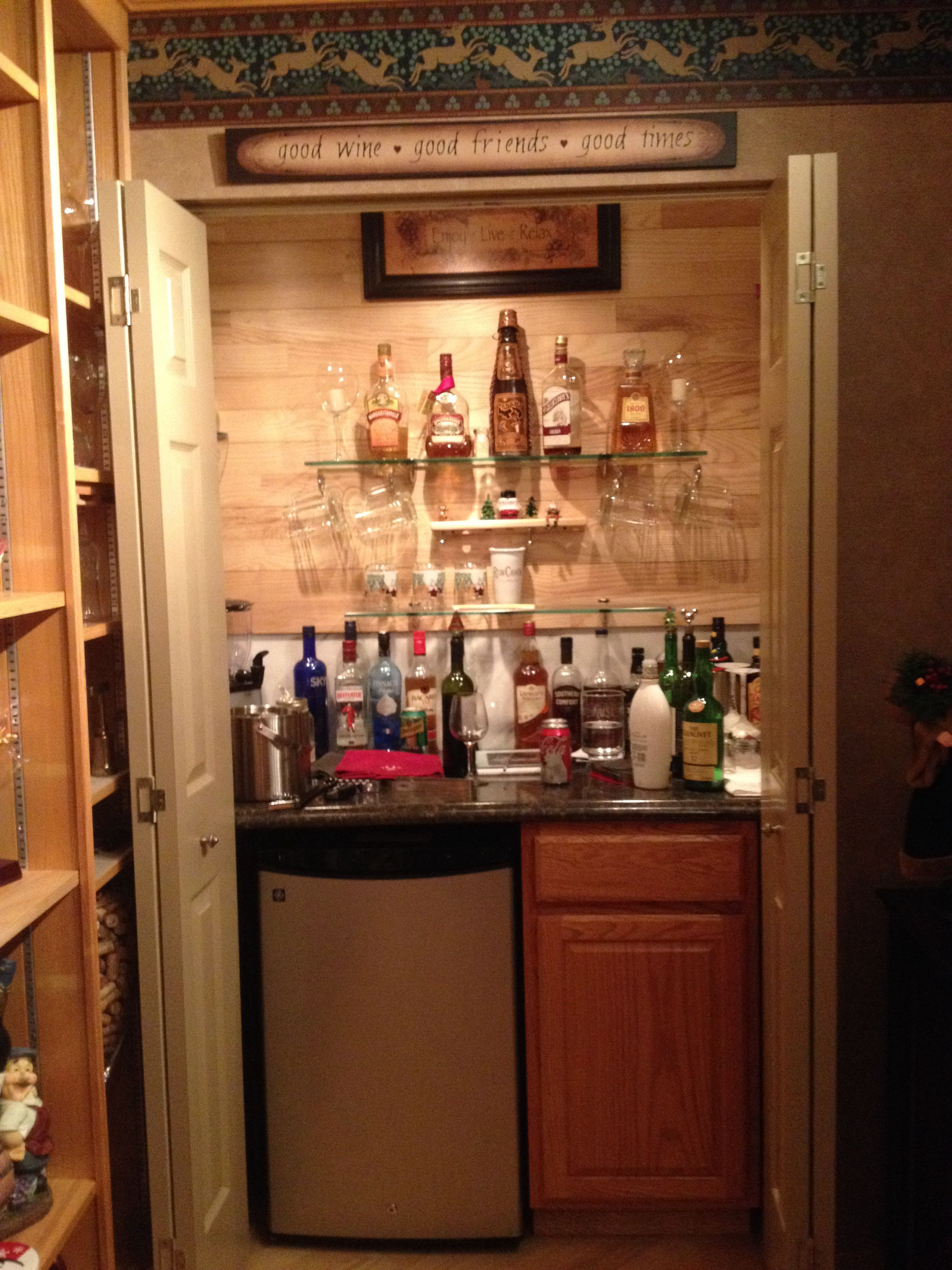 The the closet into a bar  Bars for home, Closet bar, Home