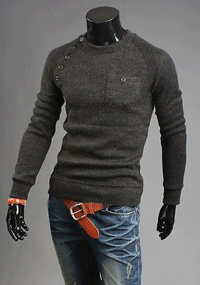 Mens Fashion Crew Neck Sweaters Slim Fit Long Sleeve Pullover Knit Cardigan Tops