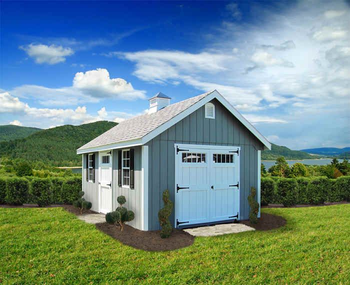 Elite A Frame Shed 12 X20 Light Gray T 111 Weather Wood Shingles White Trim And Doors Options Shown Black Raised Panel Shutt Custom Sheds Shed Shed Storage