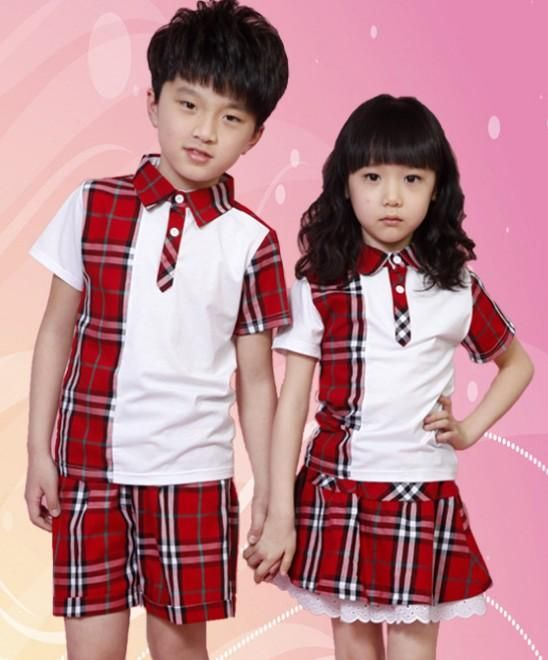 87cb0757af43 Boys Girls Clothes School Uniforms Performance Costumes Summer Korean  Children Clothing Shirts Shorts Pants Lace Short Skirts Red Blue I3094